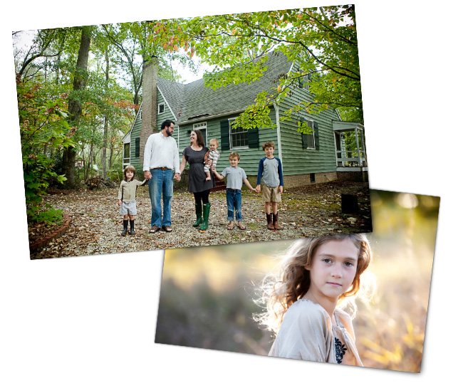 Две фотографии семьи на природе